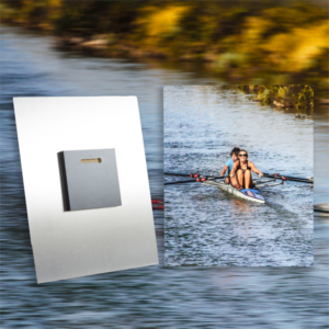An image of 2 girls canoeing printed up on Chromaluxe